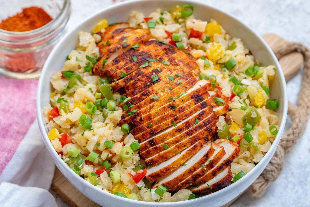 Clean Sweet Paprika Chicken + Cauli Rice Bowls