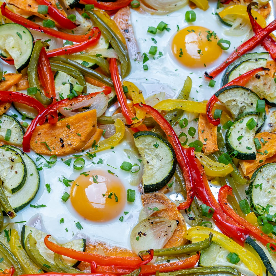 Sheet Pan Veggie + Egg Bake Recipe