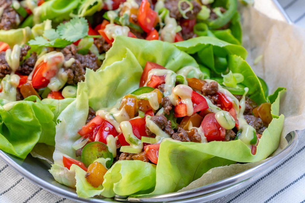 Tangy Grass-fed Beef Lettuce Wraps + Avocado Cilantro Cream Sauce Recipe