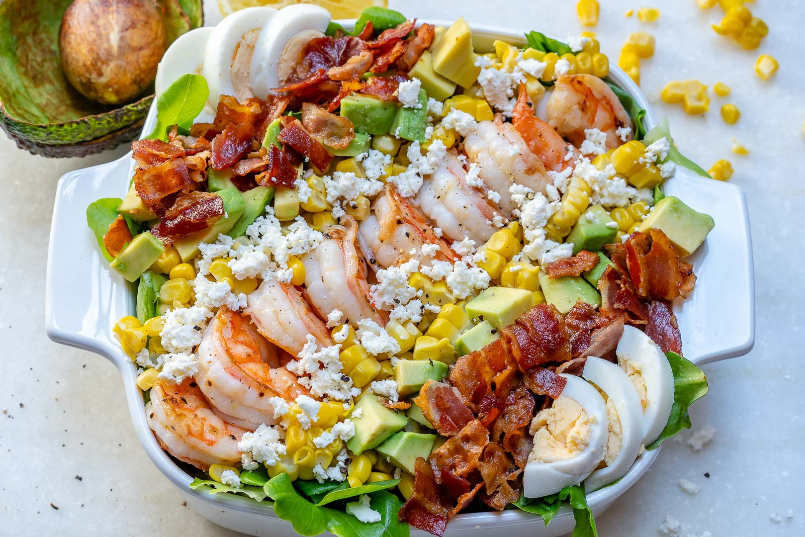ULTIMATE Shrimp Cobb salad + Fresh Lemon-Chive Salad Dressing