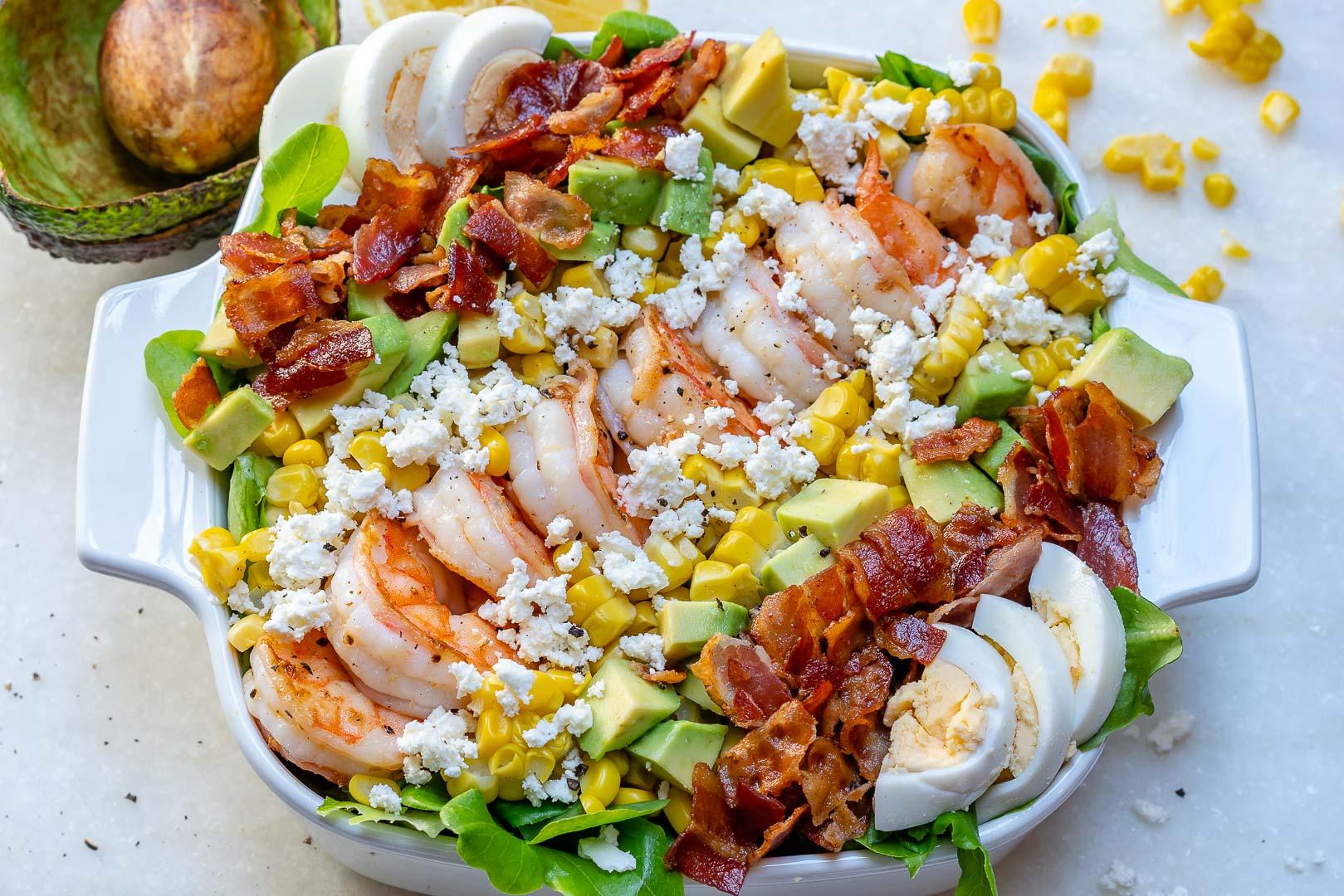 Ultimate Shrimp Cobb Salad Fresh Lemon Chive Salad Dressing
