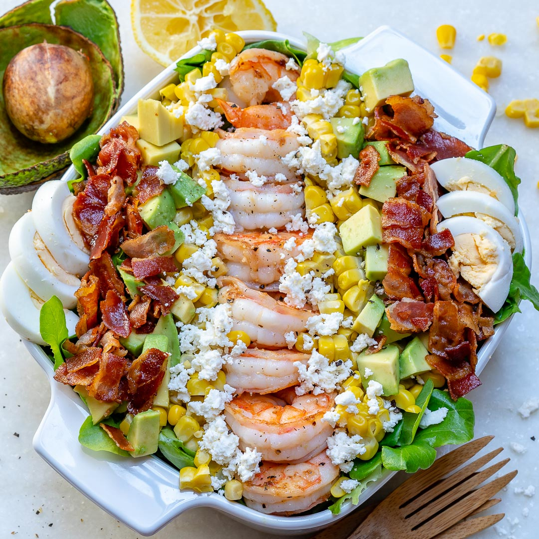 Healthy Shrimp Cobb Salad Lemon-Chive Dressing
