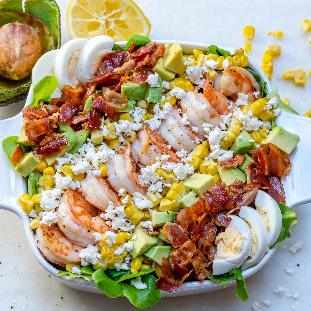 Healthy Shrimp Cobb Clean Eating Salad