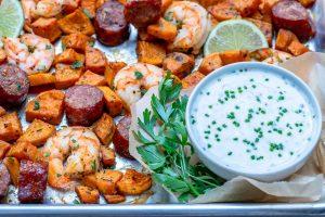 Clean Eats Sheet Pan Shrimp 'Boil' + homemade Ranch Sauce