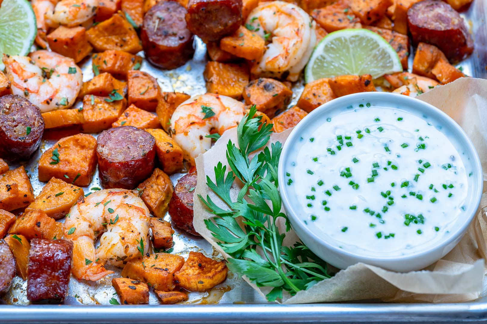 Clean Eats Sheet Pan Shrimp 'Boil' + homemade Ranch Sauce
