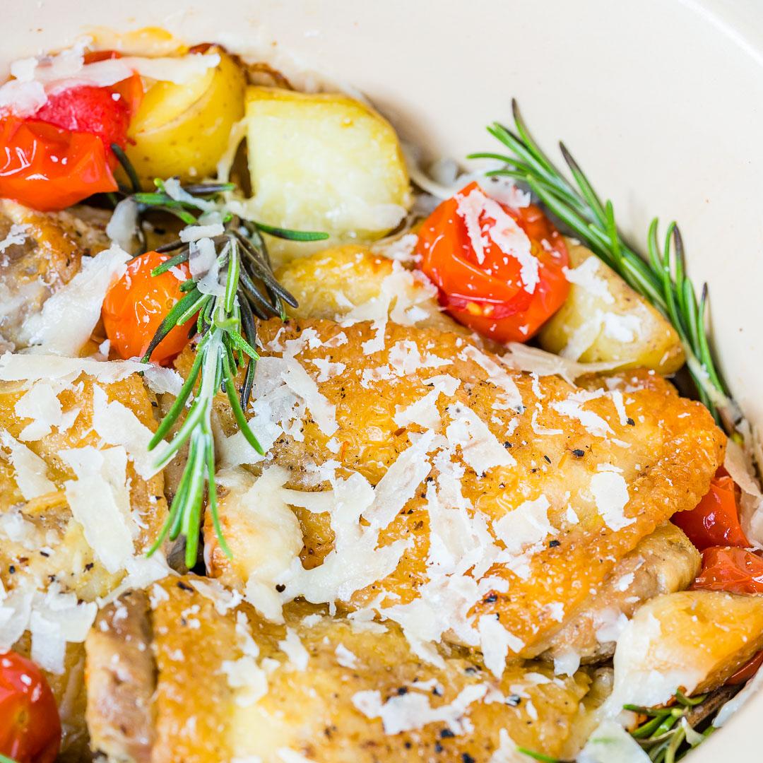 Clean Slow Cooker Garlic Parmesan Chicken New Potatoes Recipe