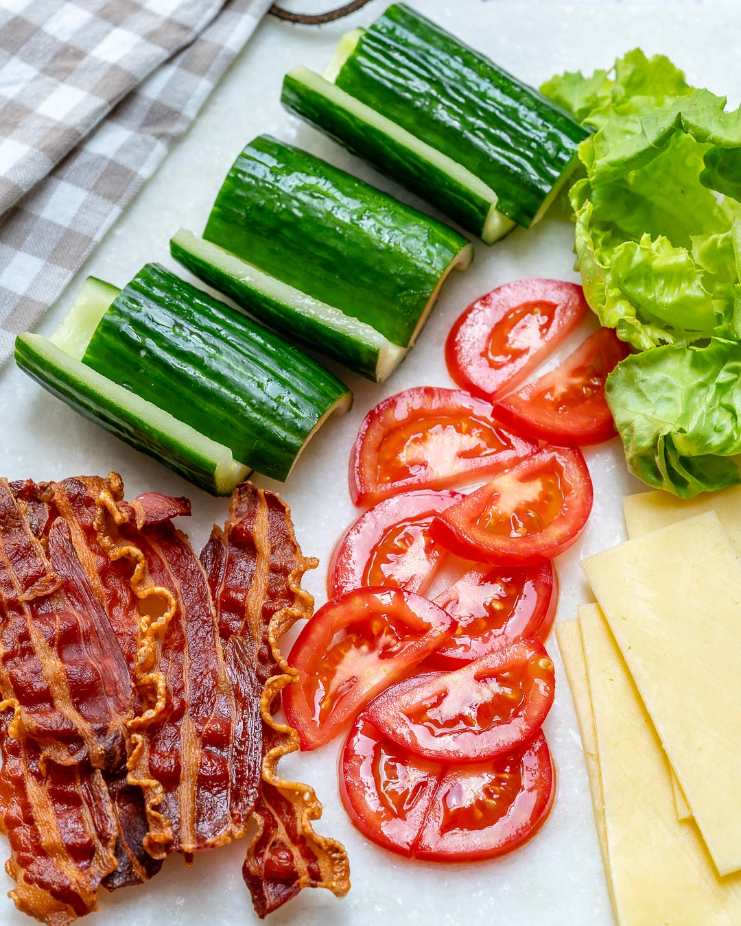 Healthy BLT Cucumber Sandwich