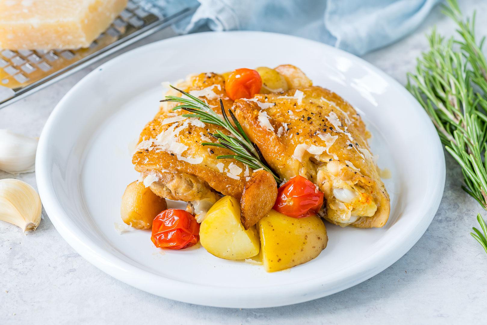 Healthy Slow Cooker Garlic Parmesan Chicken + New Potatoes