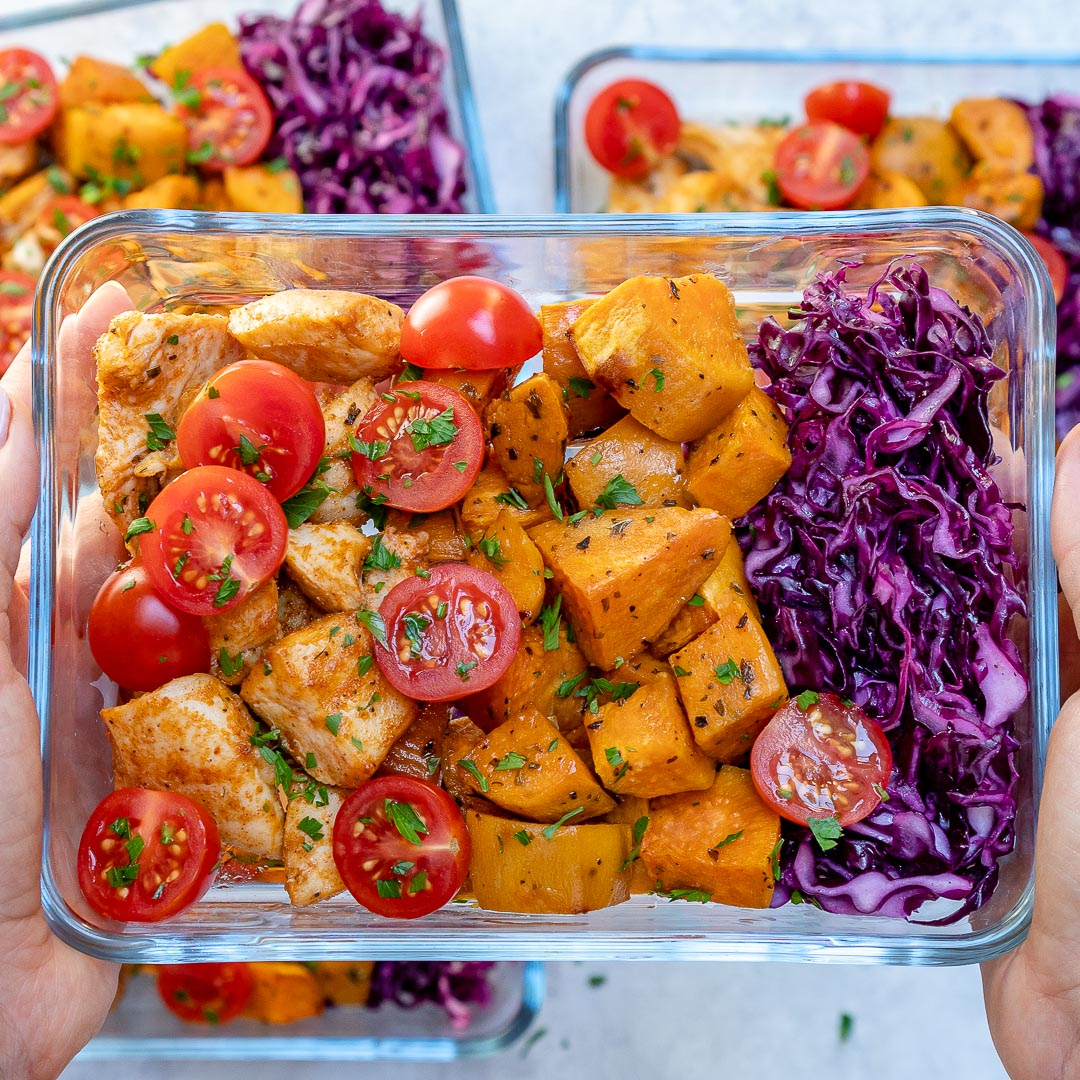 Plain Diced Sweet Potatoes: Roasted Chicken + Sweet Potato Meal Prep For Clean Eating