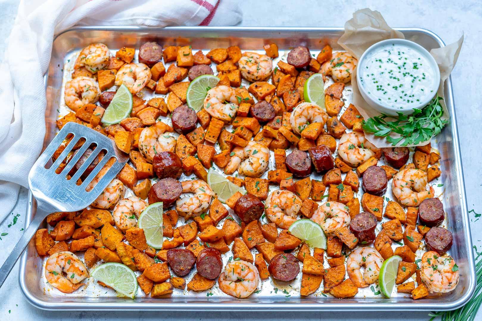 Sheet Pan Shrimp Boil homemade Ranch Sauce