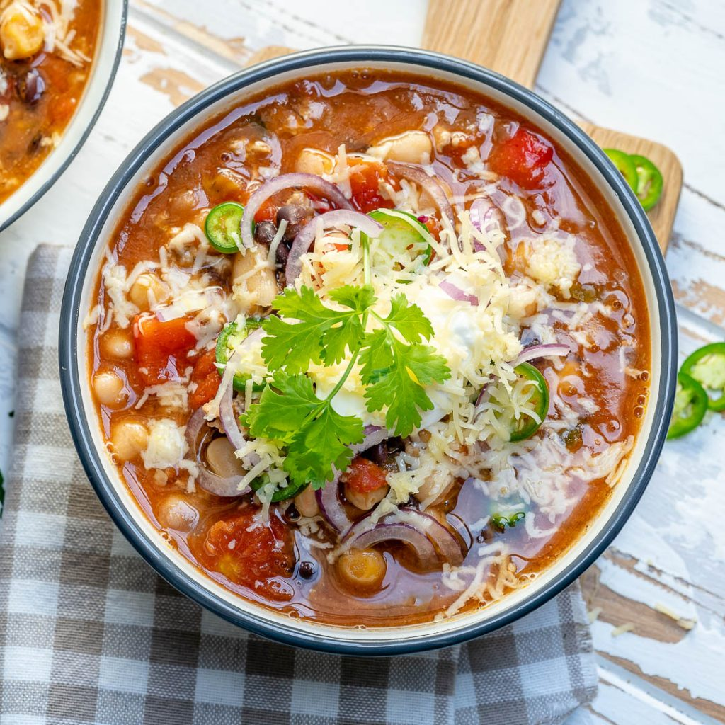 Clean Crock-pot 3-Bean with Turkey Chili