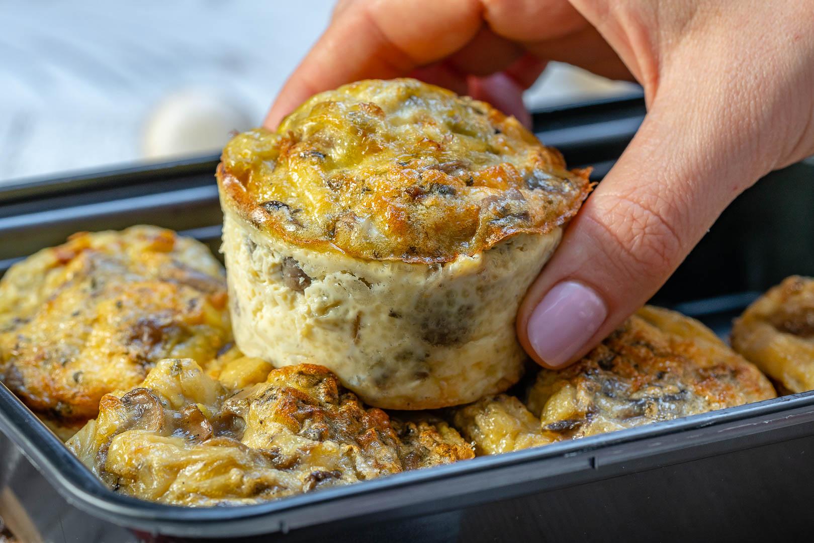 Clean Eats Mushroom Leek Omelet Muffins