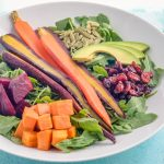 Clean Roasted Root Veggie Salad with Avocado and Homemade Creamy Garlic Dressing