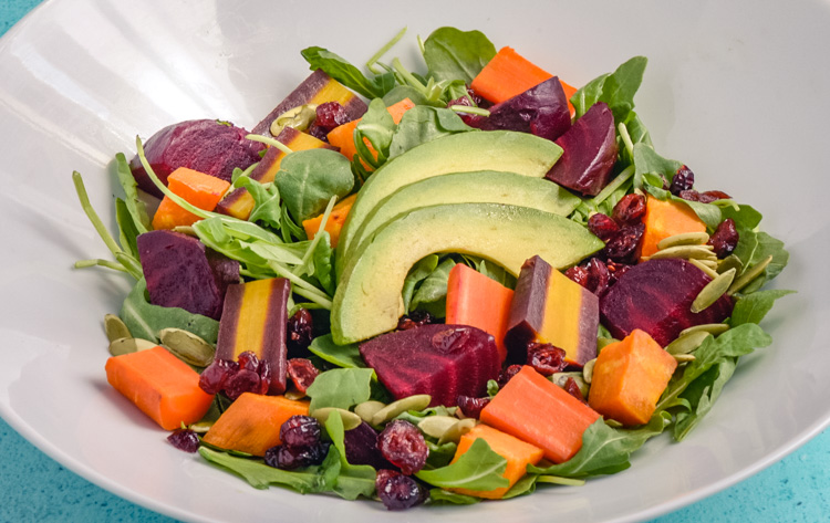 Roasted Root Veggie Salad with Avocado Recipe