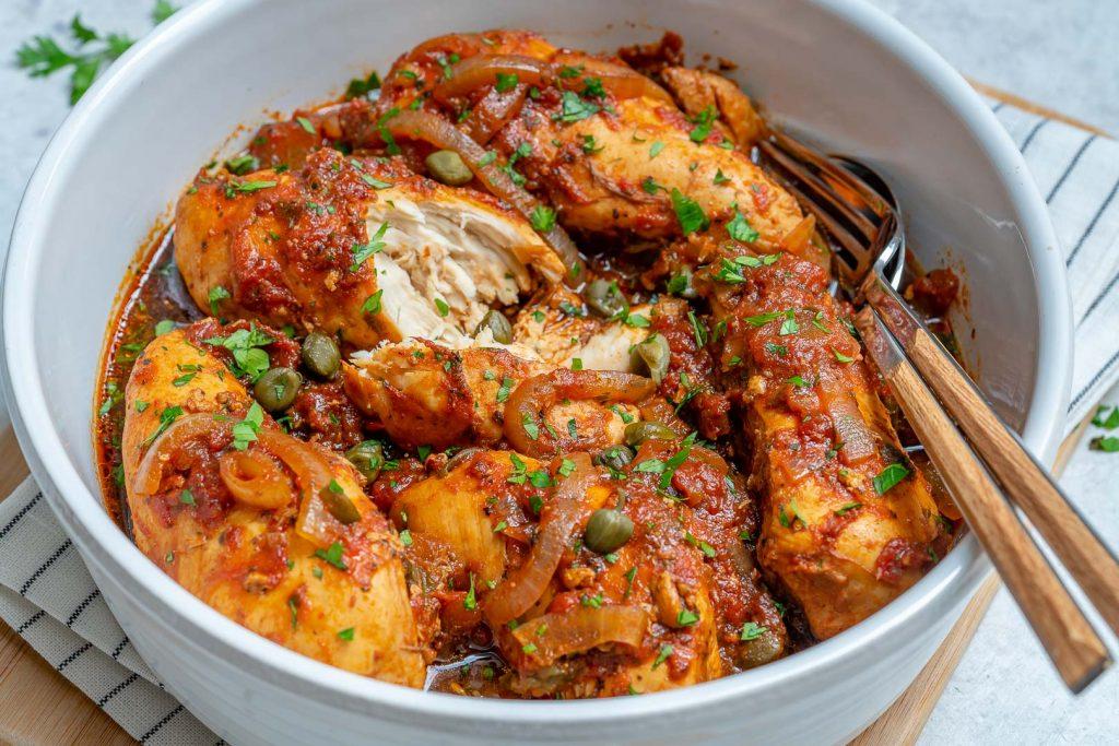 Clean Crockpot Chicken in Tomato Caper Sauce