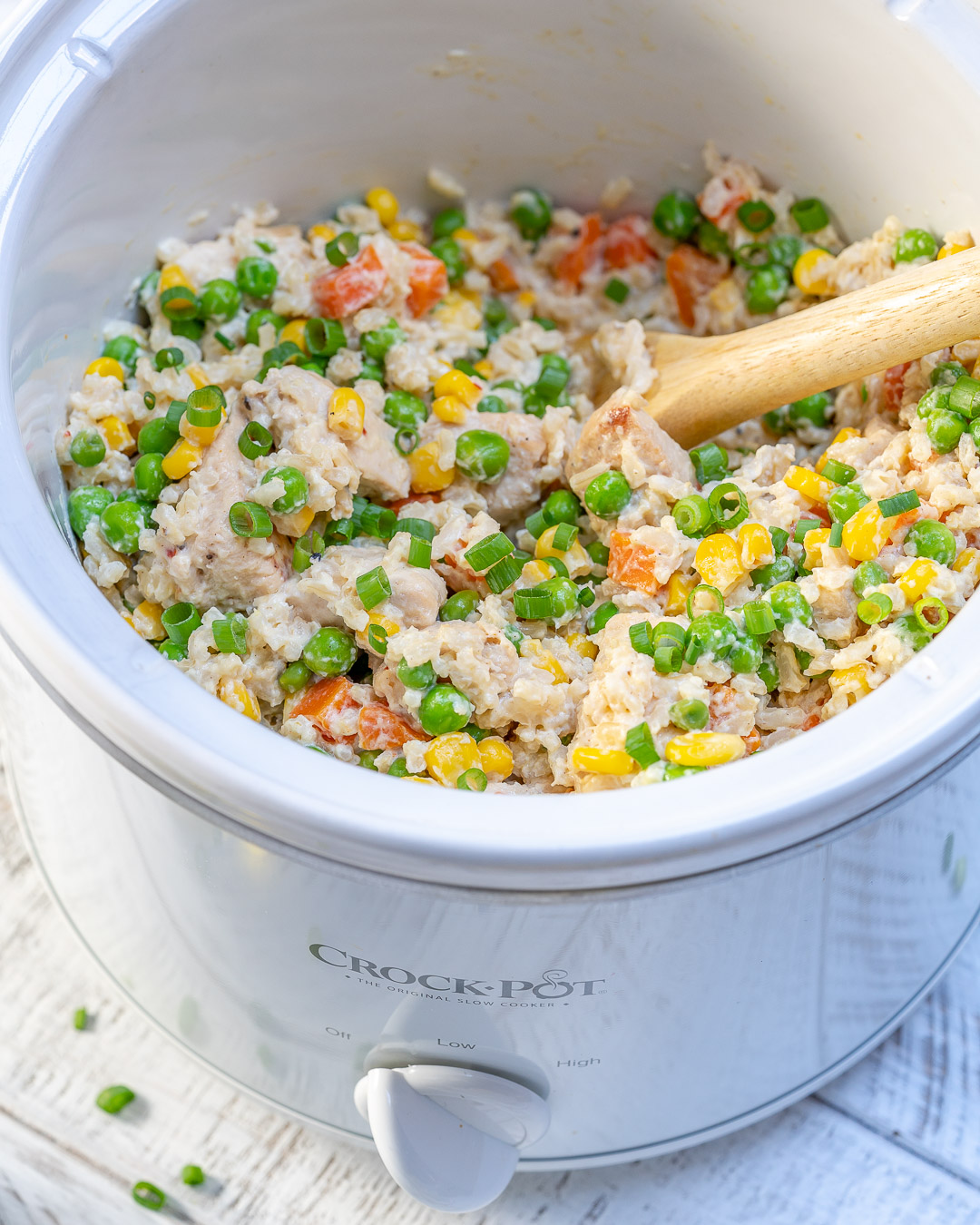 Crock-pot Creamy Chicken Rice by CleanFoodCrush