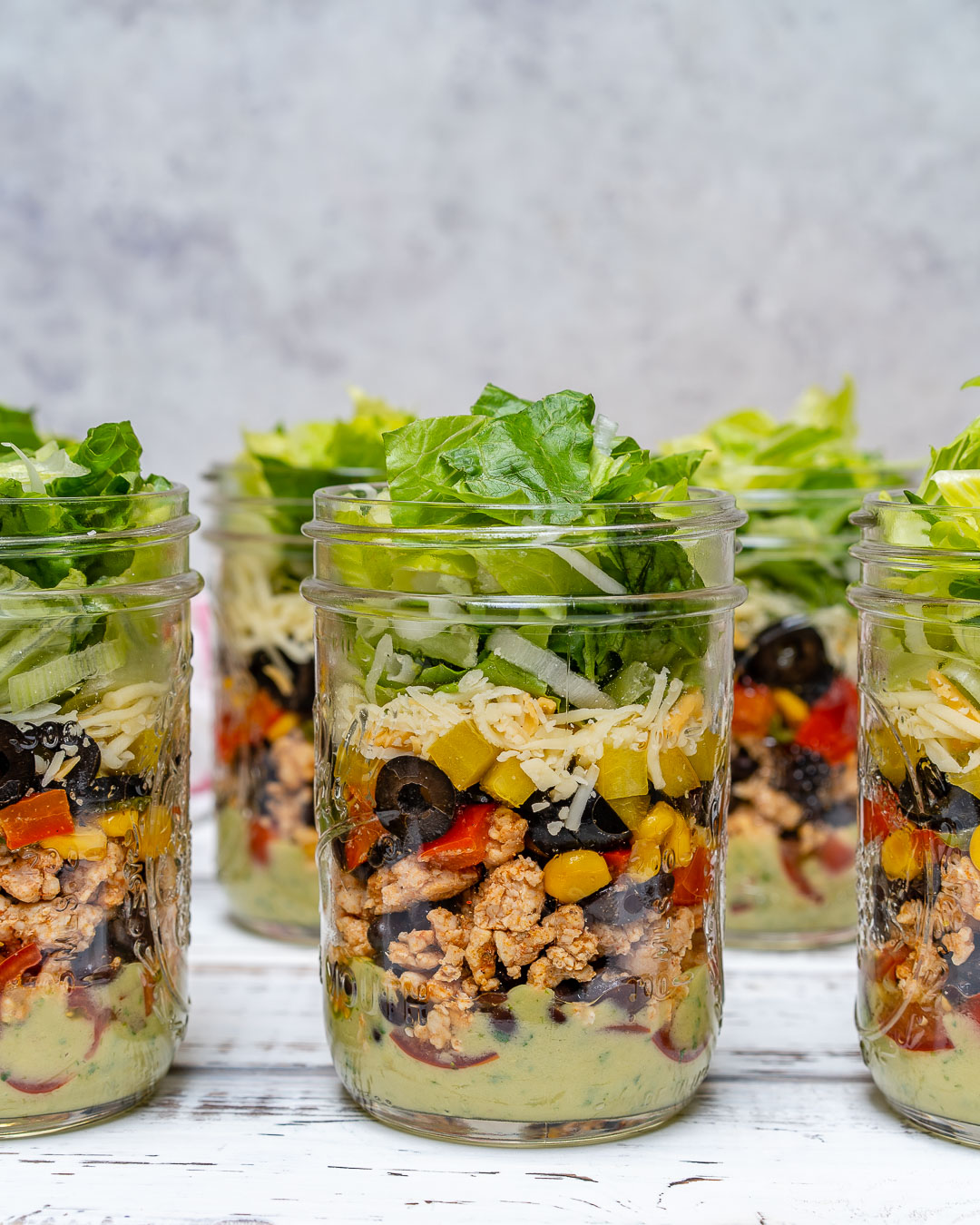 Eat Clean Fiesta Taco Salad-in-a-jar ingredients