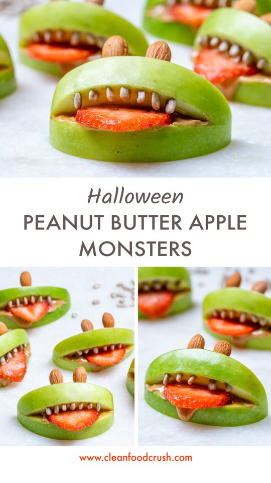 Halloween Peanut Butter Apple Monsters