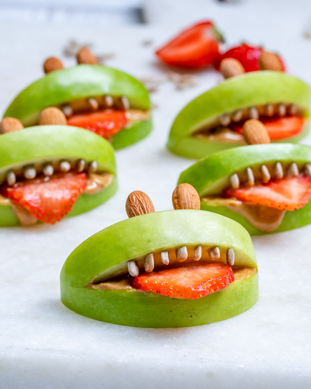 Healthy Halloween PB Apple Monsters
