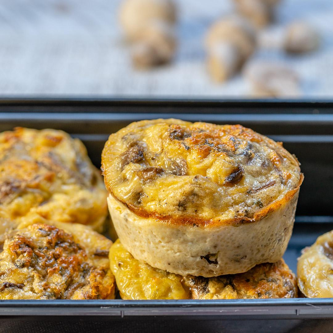 Mushroom + Leek Omelet Muffins by CleanFoodCrush