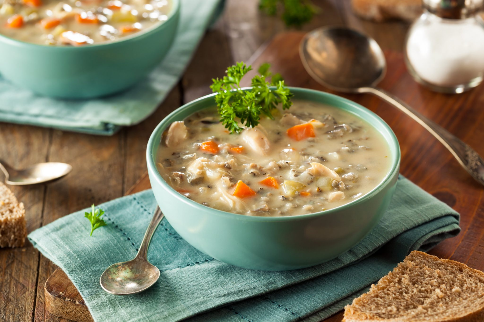Bowl of Healthy Creamy Turkey Wild Rice Soup