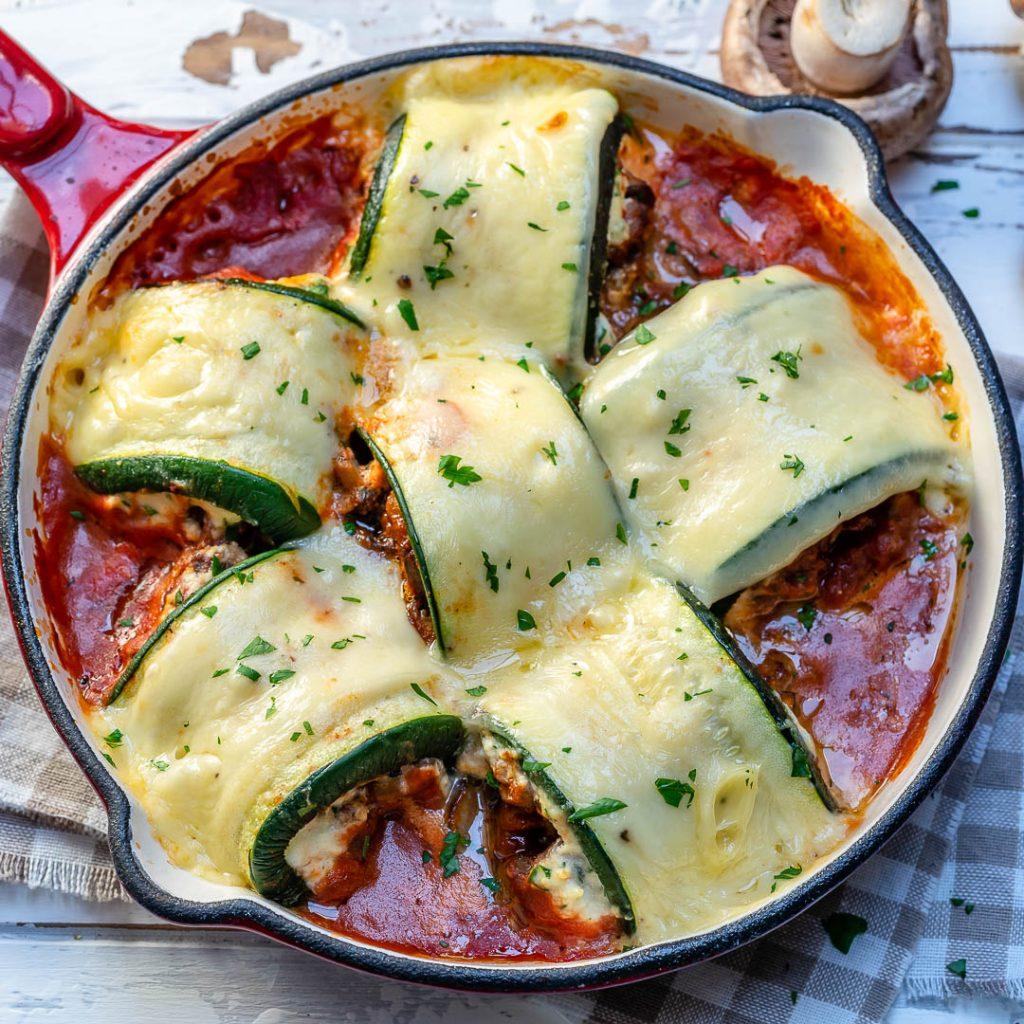 Clean Mushroom Zucchini Lasagna Rolls