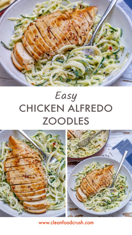Eat Clean Chicken Alfredo Zoodles