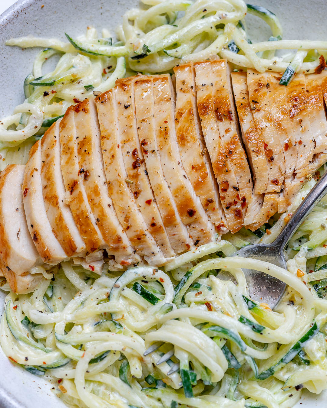 Chicken Alfredo Zoodles Food Prep