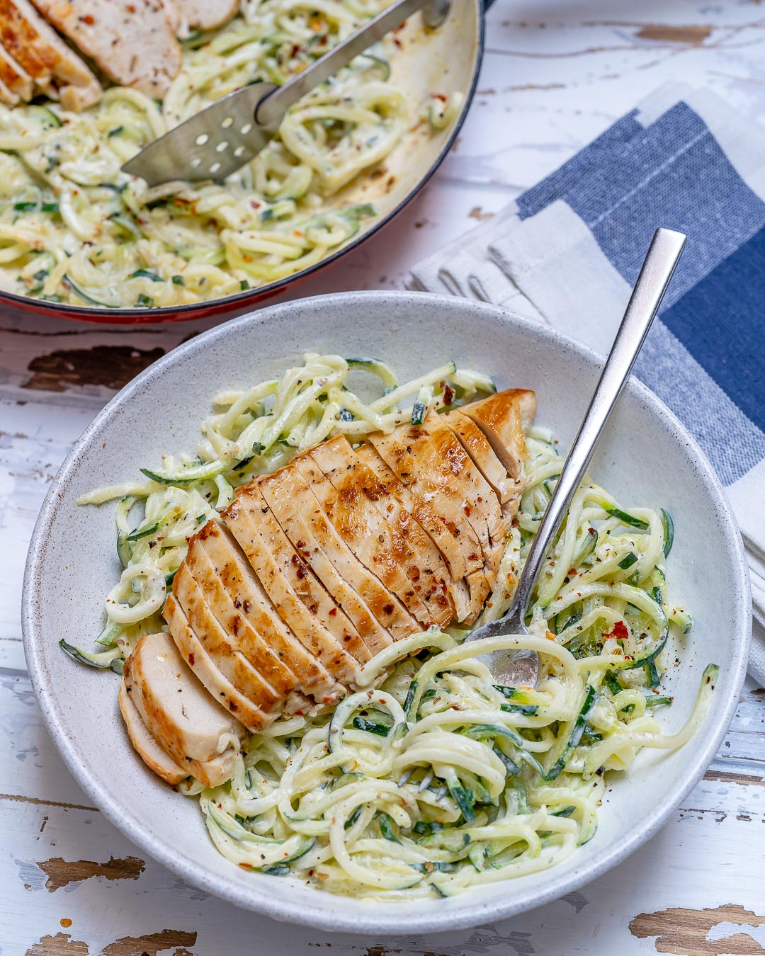 Healthy Chicken Alfredo Zoodles Dinner Recipe