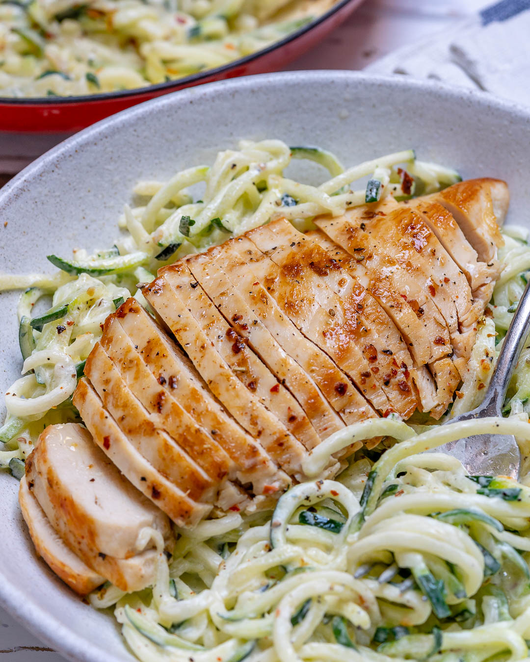 Quick Chicken Alfredo Zoodles Prep