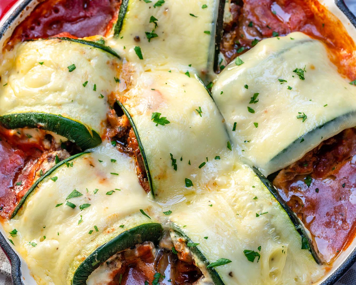Eat Clean Mushroom Zucchini Lasagna Rolls