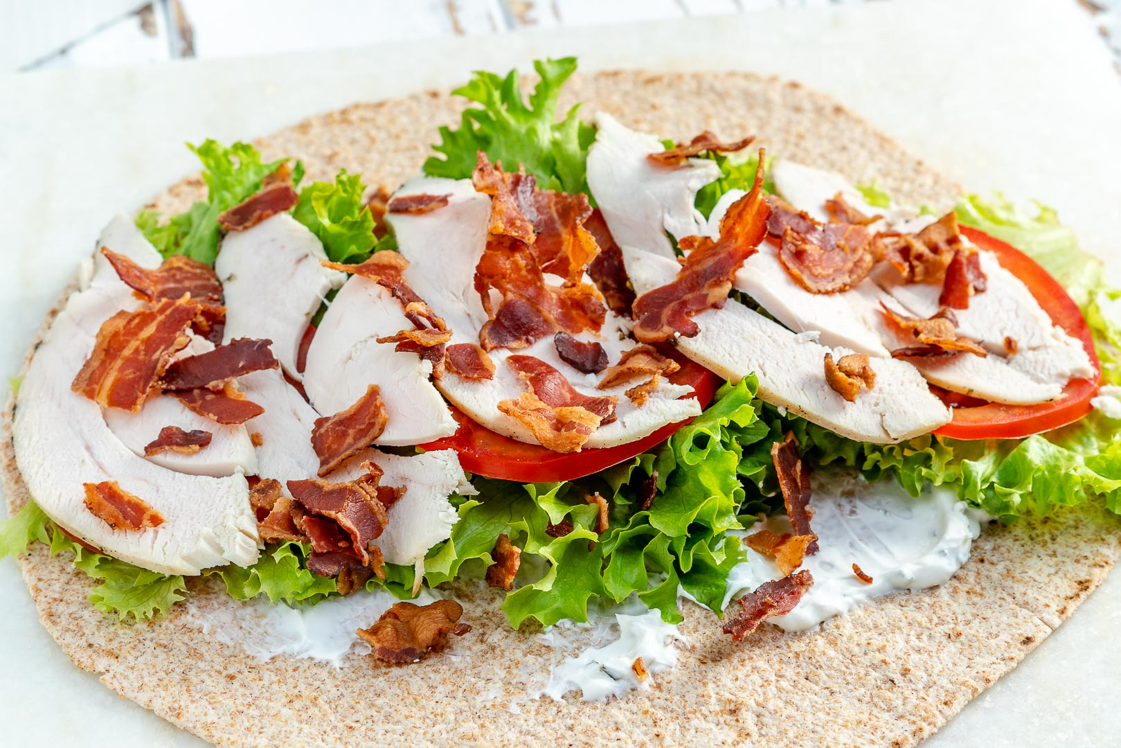 Thanksgiving Leftover Tangy Turkey Ranch Club Wraps