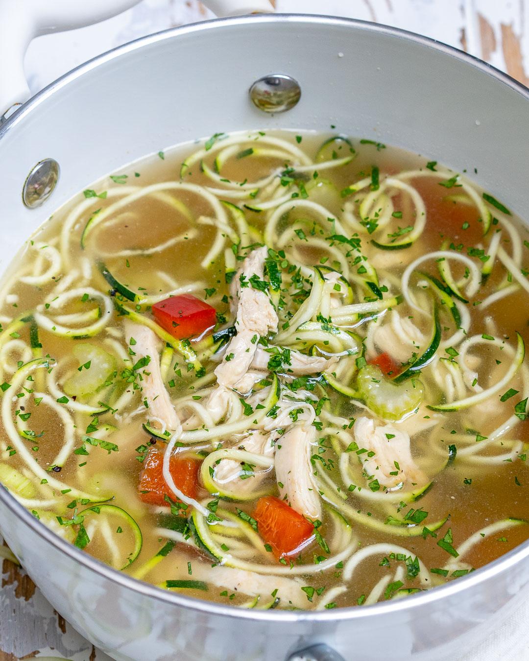 Chicken Spiral Zucchini Soup