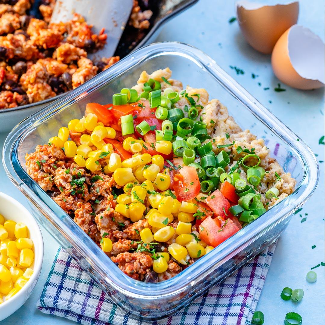 Clean Taco Scramble Breakfast Meal Prep Bowls