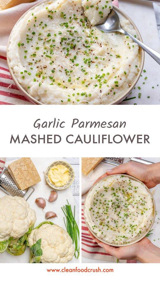 CleanFoodCrush Garlicy Parm Mashed Cauliflower