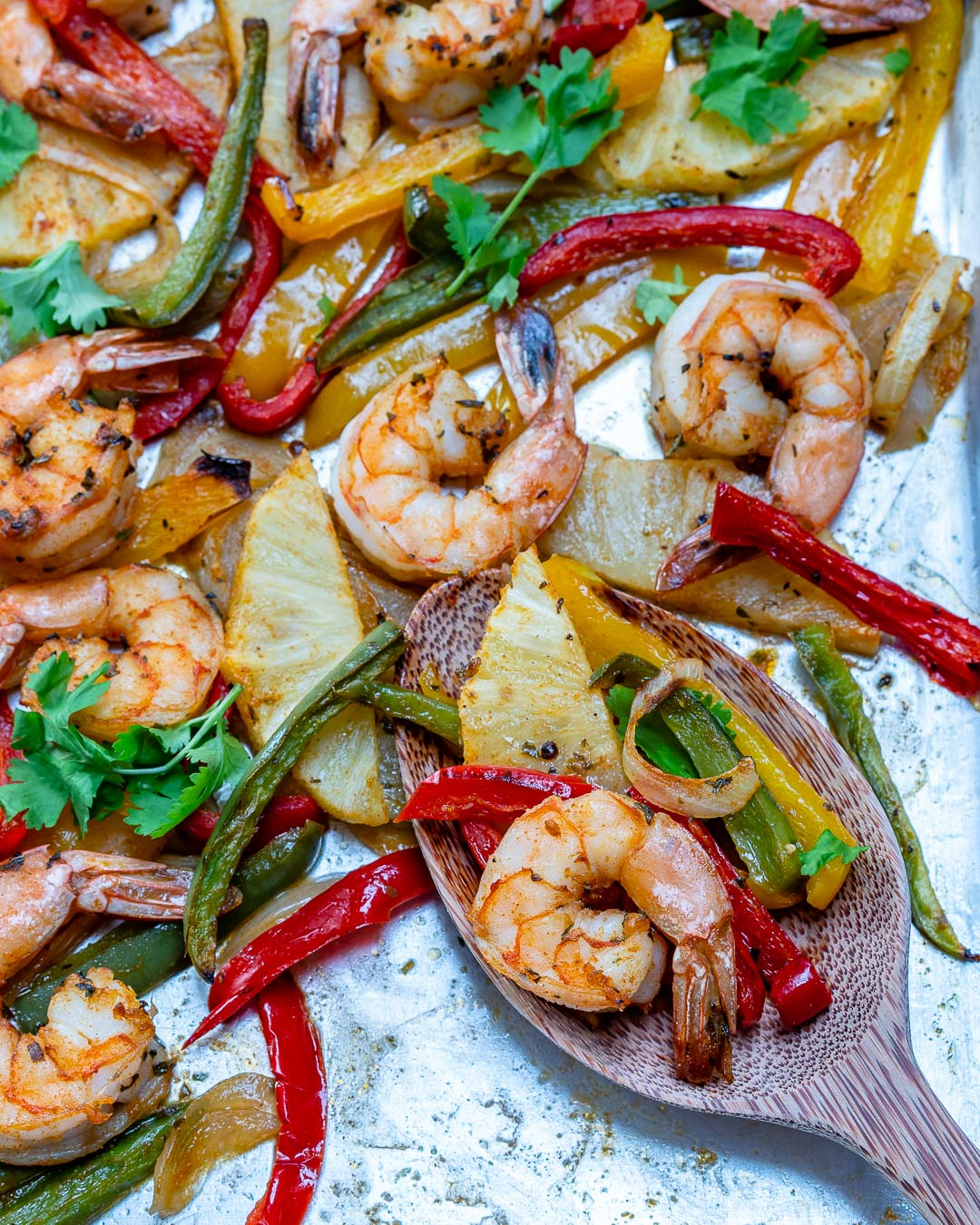 CleanFoodCrush Sheet Pan Pineapple Shrimp Fajitas Recipe