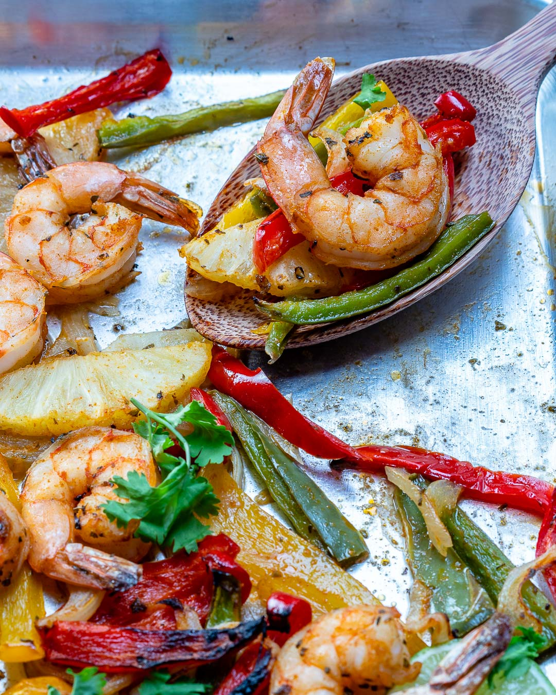 Eat Clean Sheet Pan Pineapple Shrimp Fajitas