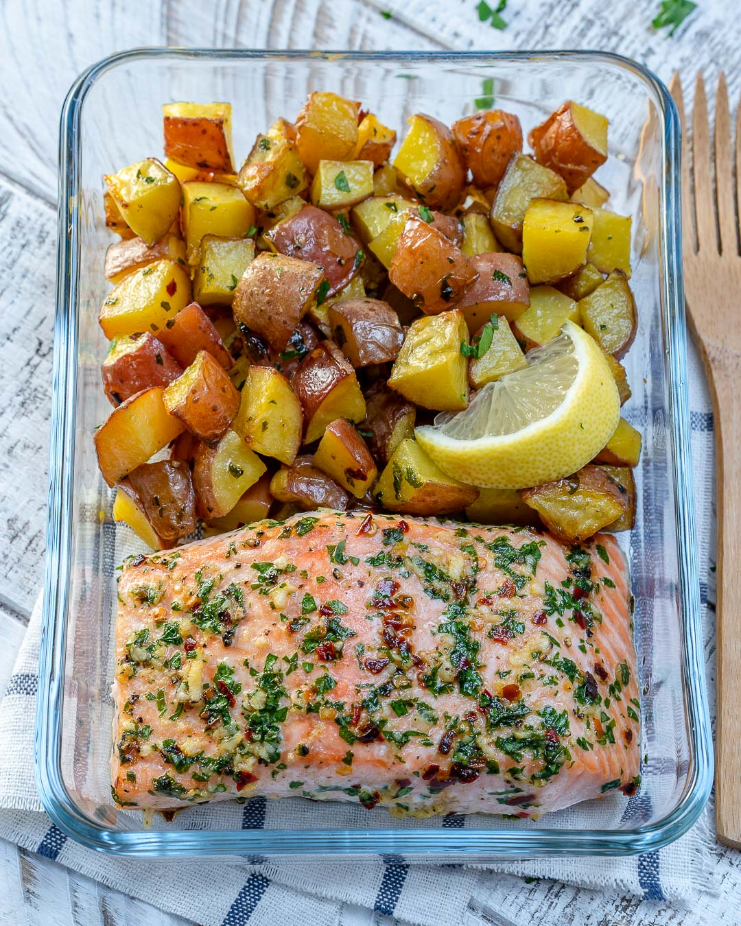 One Sheet Pan Garlic Butter Salmon Clean Meal