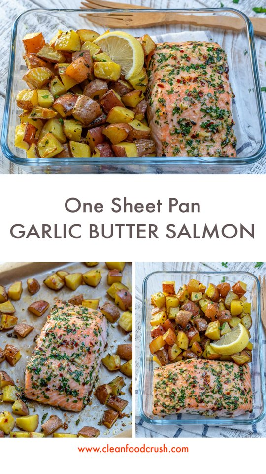 One Sheet Pan Garlic Butter Salmon