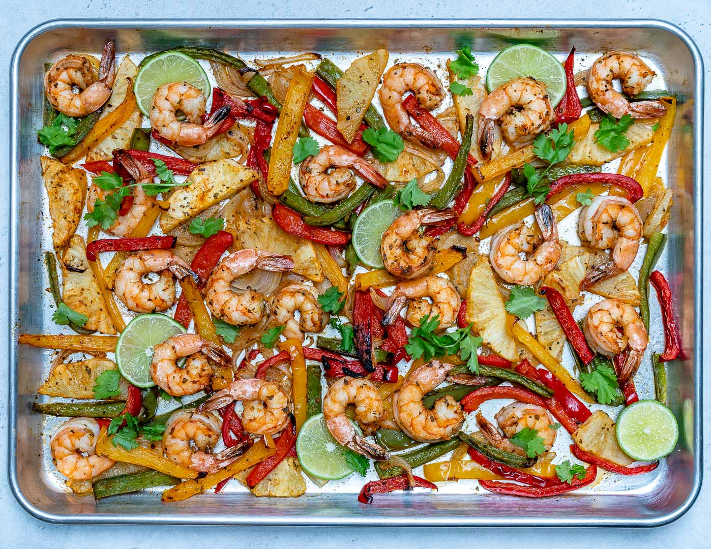 Healthy Sheet Pan Pineapple Shrimp Fajitas