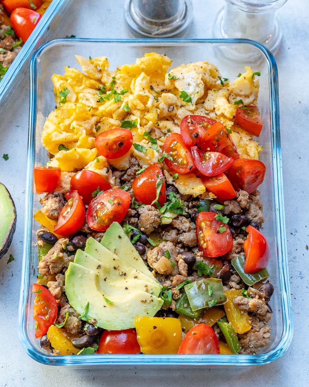 Taco Scramble Meal Prep bowls