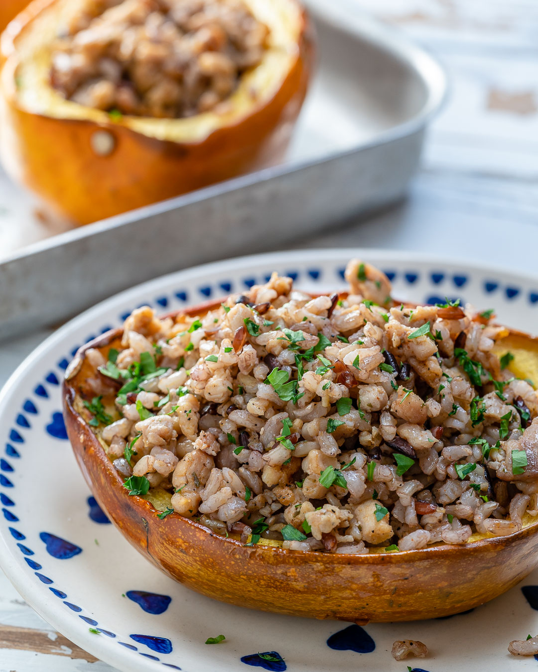 Turkey + Wild Rice Stuffed Squash For Cozy Warm Clean