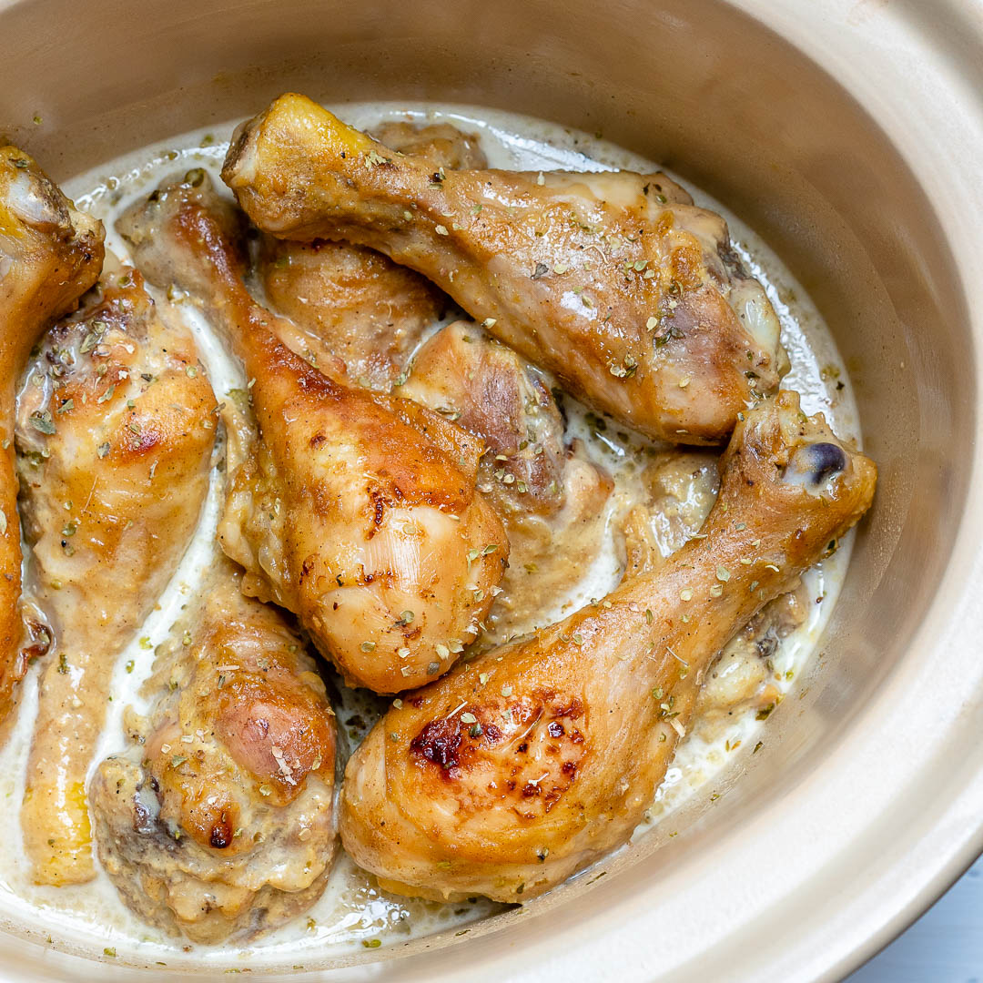Crockpot Maple + Mustard Chicken Drumsticks