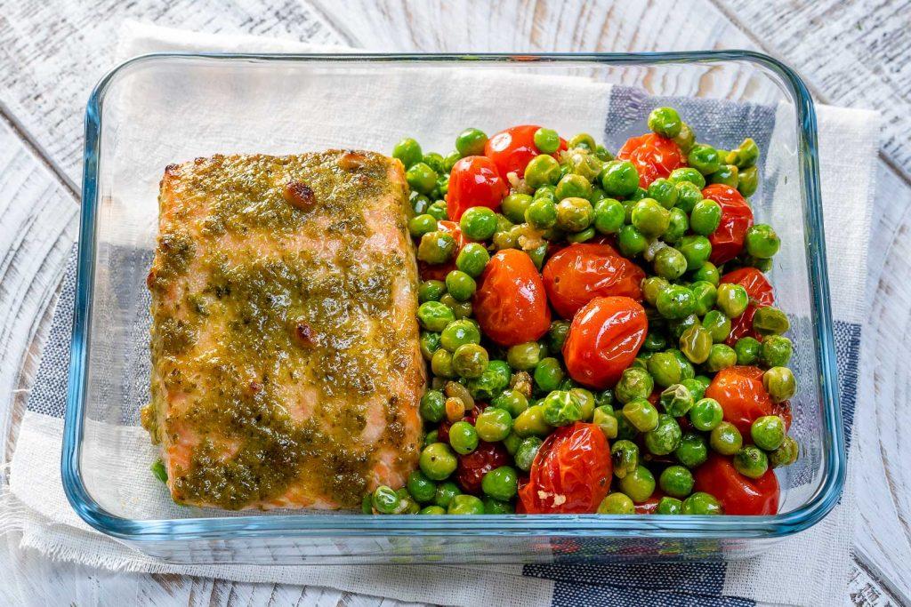 One-Sheet Pan Tomato Pesto Salmon