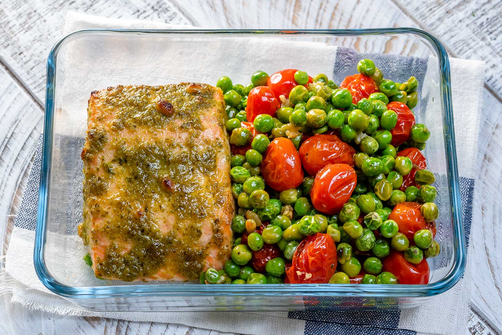 One-Sheet Pan Tomato Pesto Salmon