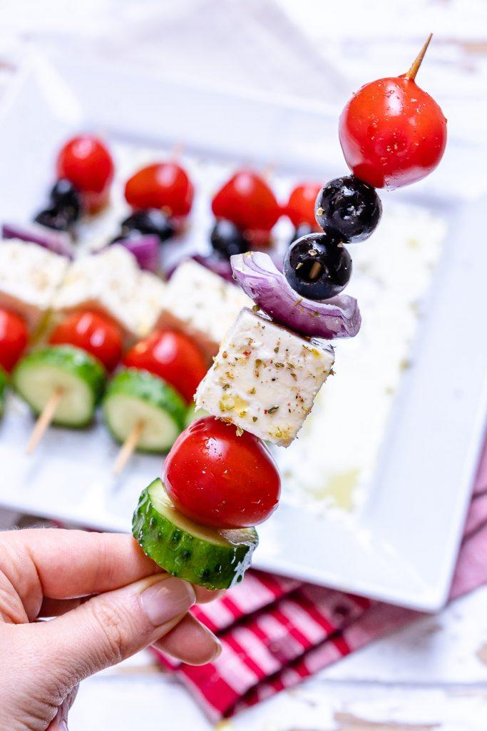 Greek Salad Skewers for Entertaining Clean Eating Style!