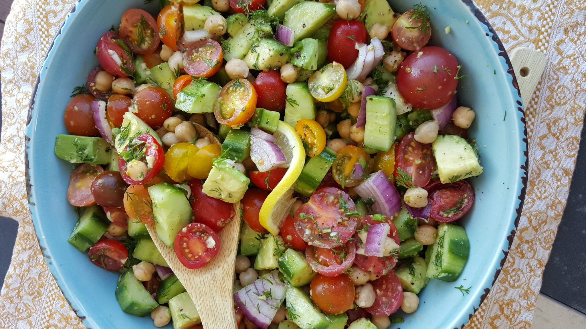 Chopped Mixed Tomato + Crisp Cucumber Salad with Lemony Dill