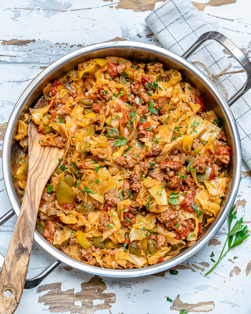 EASY One-Pan Beef + Cabbage Skillet