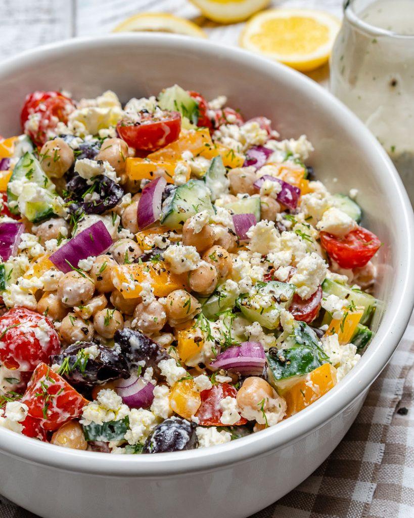 Greek Chickpea Salad + Tzatziki Dressing