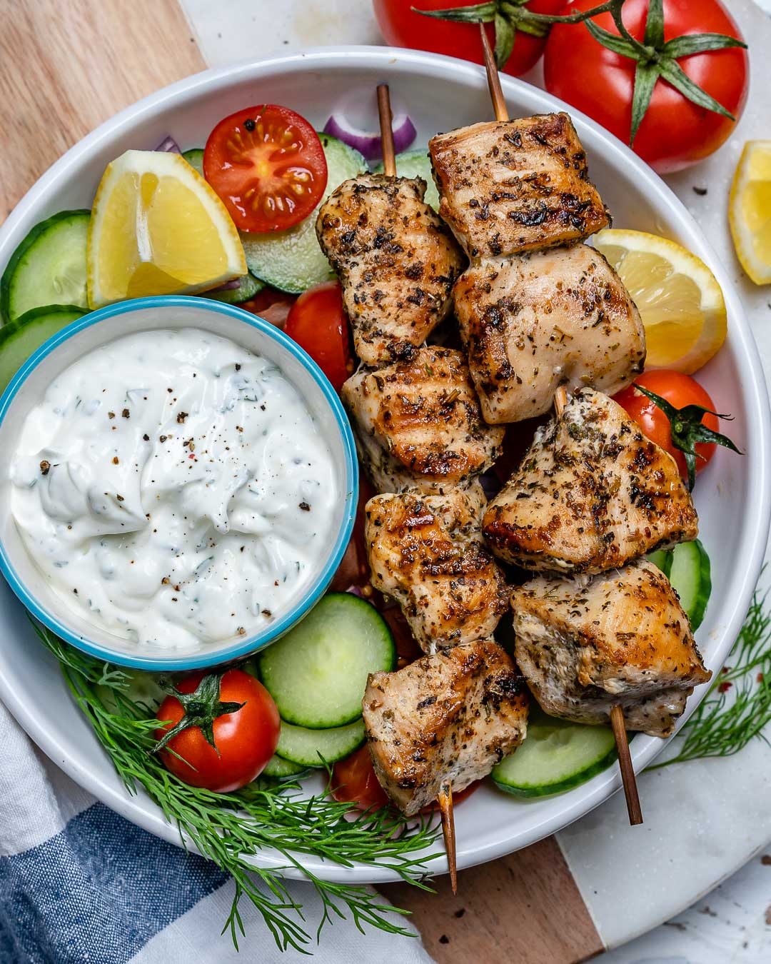 Grilled Chicken Skewers Homemade Tzatziki Are Bbq Perfection